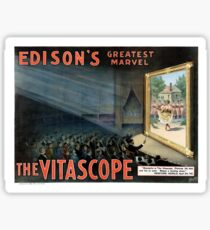 Edisons greatest marvel The Vitascope Restored Vintage Poster Sticker