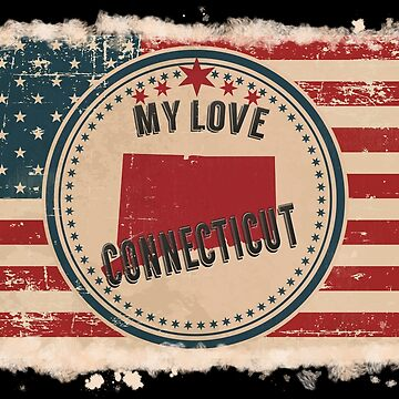 Connecticut Vintage Retro US American Flag Design in Distress Look by Flaudermoon