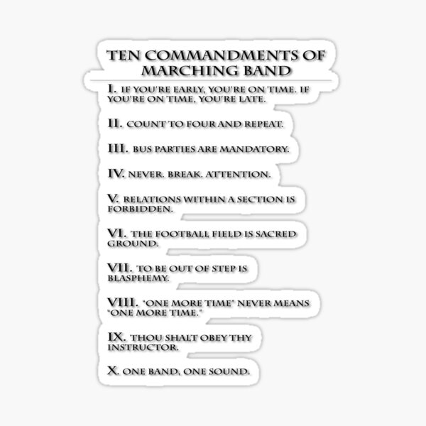 The Ten Commandments of Marching Band Sticker