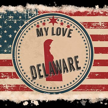 Delaware Vintage Retro US American Flag Design in Distress Look by Flaudermoon