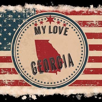 Georgia Vintage Retro US American Flag Design in Distress Look by Flaudermoon