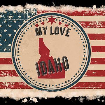Idaho Vintage Retro US American Flag Design in Distress Look by Flaudermoon