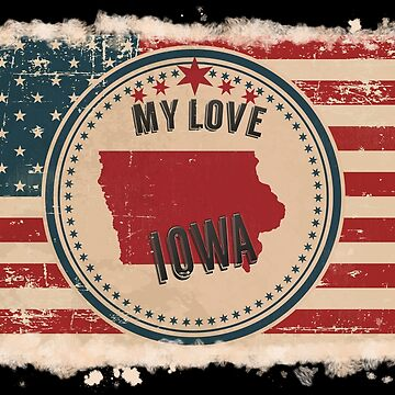 Iowa Vintage Retro US American Flag Design in Distress Look by Flaudermoon