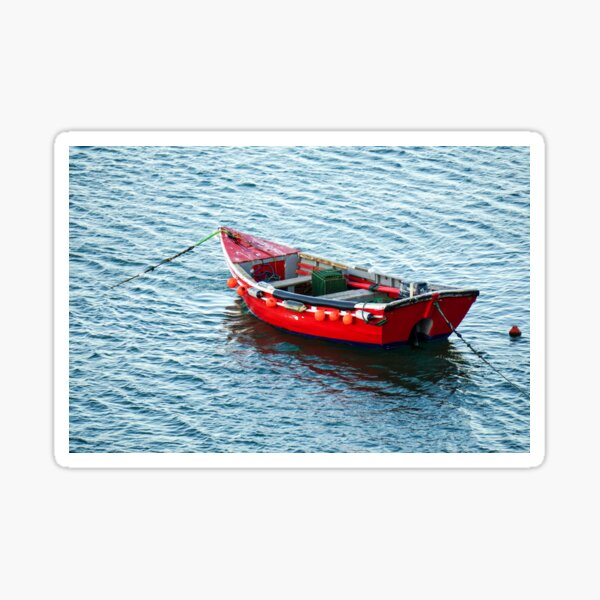Red Fishing Boat Sticker