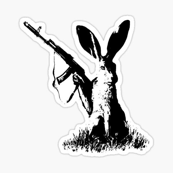 Jackrabbit with Kalashnikov Sticker