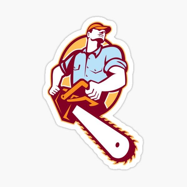 Lumberjack Tree Surgeon Arborist Chainsaw Retro Sticker