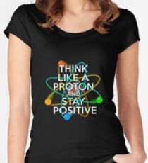 Think like a proton and stay positive Women's Fitted Scoop T-Shirt