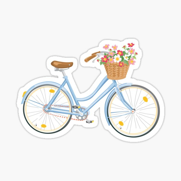 Women's Bicycle with Flowers in Basket Sticker