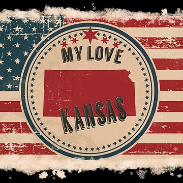 Kansas Vintage Retro US American Flag Design in Distress Look by Flaudermoon
