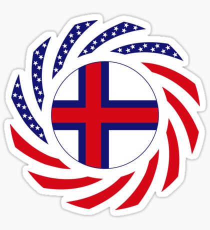Faroe Islands American Multinational Patriot Flag Series Sticker