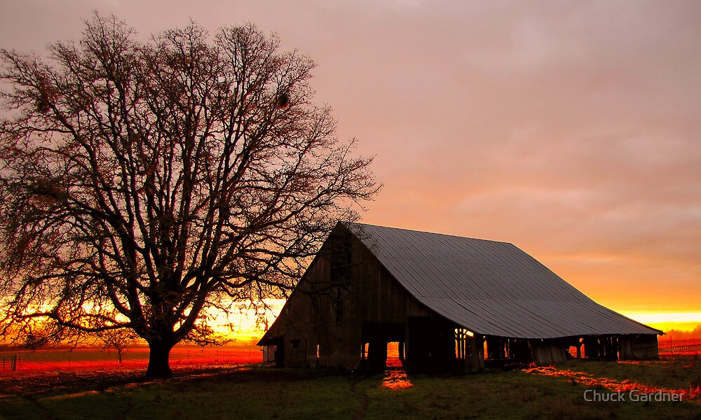 Sunrise at the Old Sheep Barn by Chuck Gardner