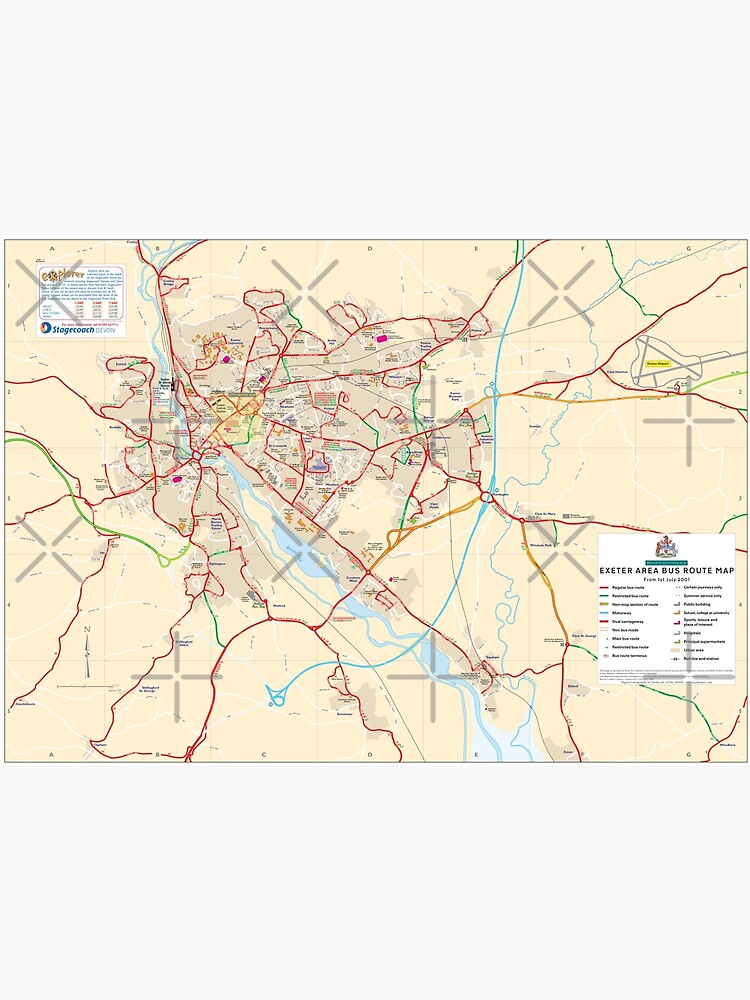 Map Of Uk Hd.South West Exeter Bus Network Map England Uk Hd Poster