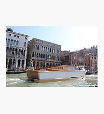 boat on venise river Photographic Print