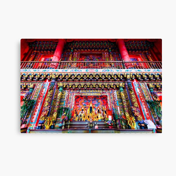 Vibrant interior details of a Buddhist temple in Jiufen, Taiwan.	 Canvas Print