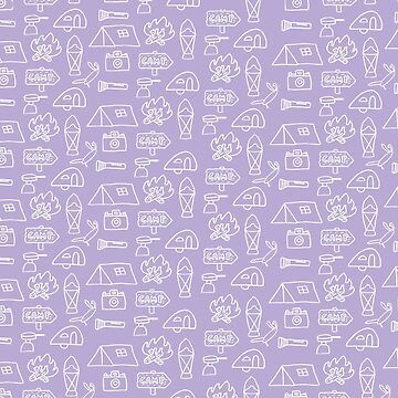 Camping Doodle Print Lilac by hipaholic