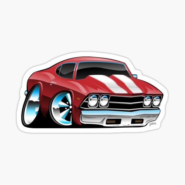 Classic American Muscle Car Cartoon Sticker
