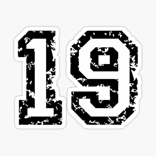 Number Nineteen - No. 19 (two-color) white Sticker