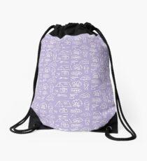 Camping Doodle Print Lilac Drawstring Bag