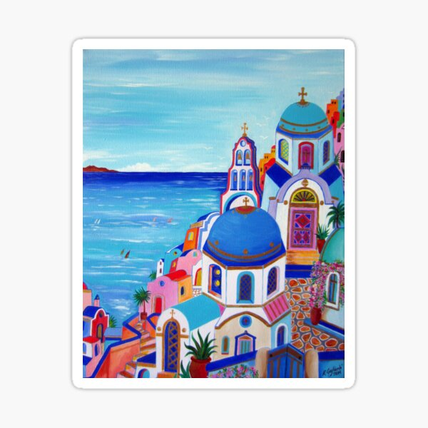 Colorful Oia Santorini Sticker