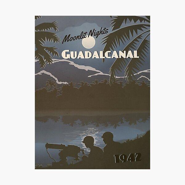 Guadalcanal 1942 - Moonlit Night Travel Poster Photographic Print