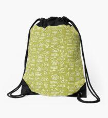 Camping Doodle Print Lime Drawstring Bag