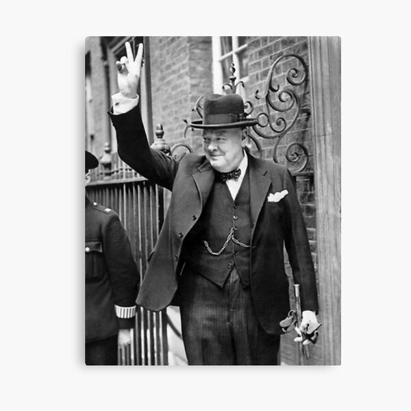 Winston Churchill V For Victory Canvas Print