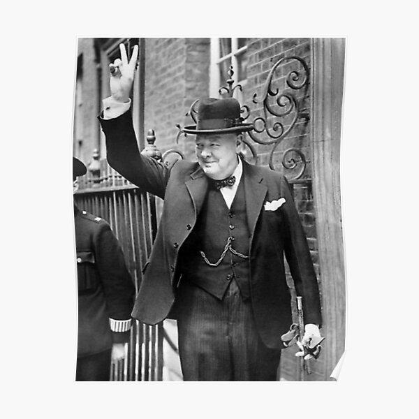 Winston Churchill V For Victory Poster