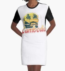 Cambodia Traveller Travelling Gift For Men And Women Graphic T-Shirt Dress