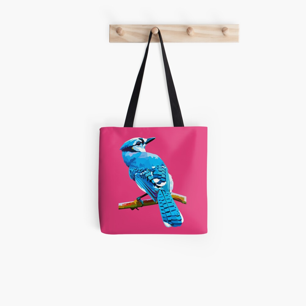 Blue Jay with Cherry Blossoms portrait Tote Bag
