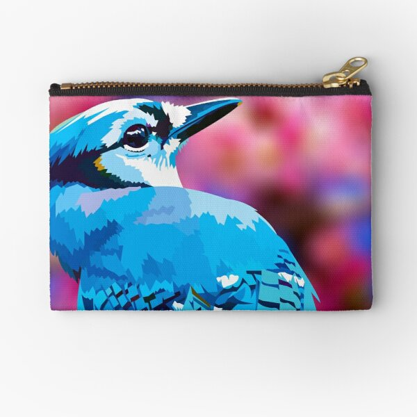 Blue Jay with Cherry Blossoms portrait Zipper Pouch
