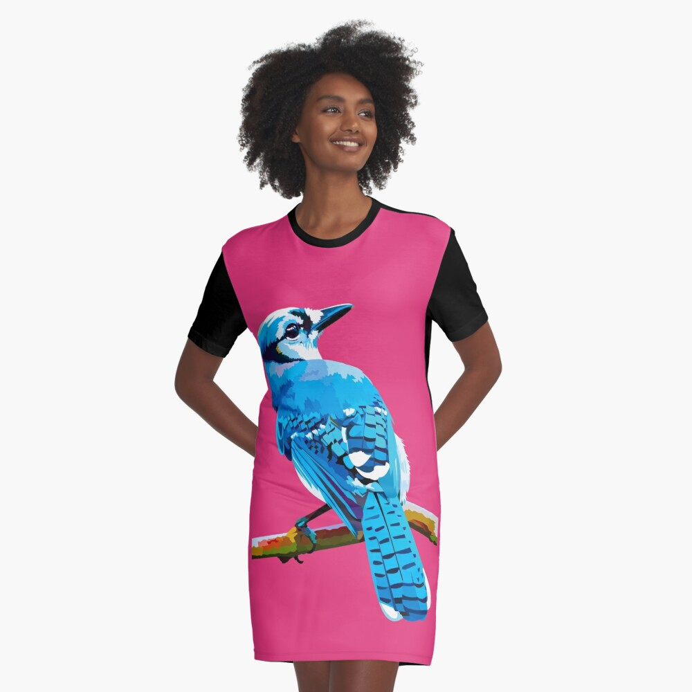 Blue Jay with Cherry Blossoms portrait Graphic T-Shirt Dress