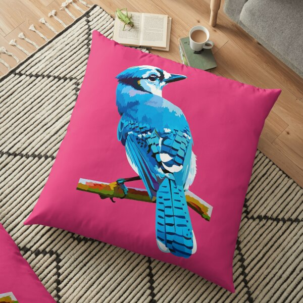 Blue Jay with Cherry Blossoms portrait Floor Pillow