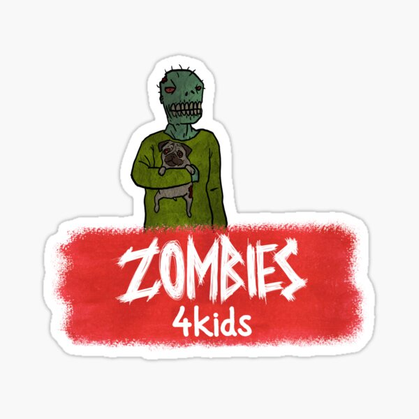 """A Zombie and his Pug from """"Zombies4Kids"""" Sticker"""