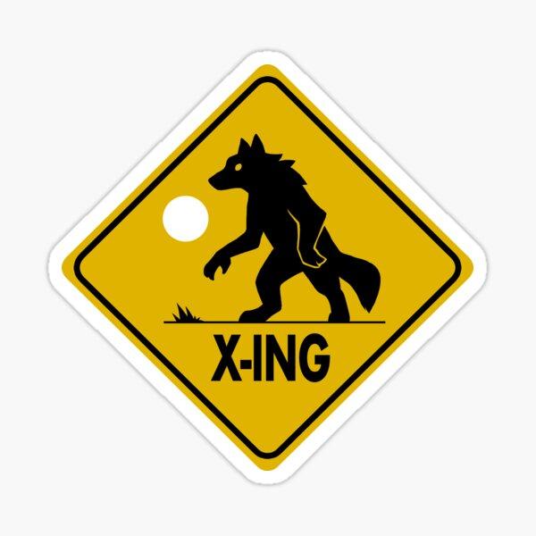 Werewolf Crossing Sign Sticker