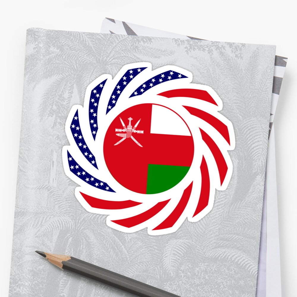 Omani American Multinational Patriot Flag Series Sticker