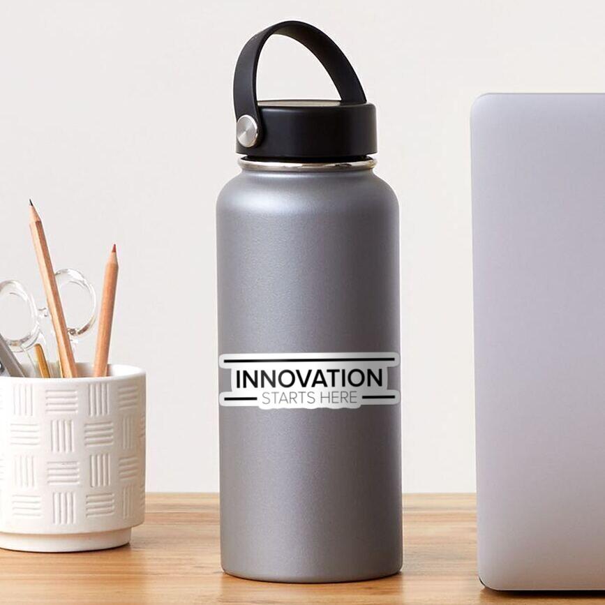 Innovation Starts Here Design - White Sticker
