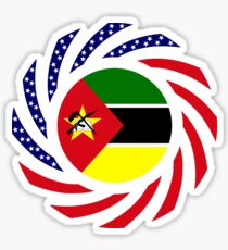 Mozambican American Multinational Patriot Flag Series Sticker