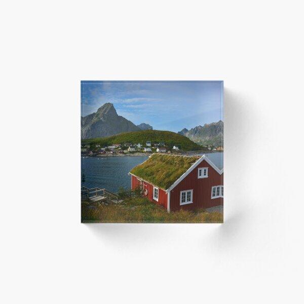 Rorbuer in Reine auf den Lofoten/ Skandinavien Acrylblock