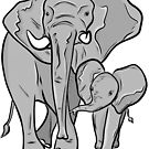 Mama & Baby: Elephants  by rmcbuckeye