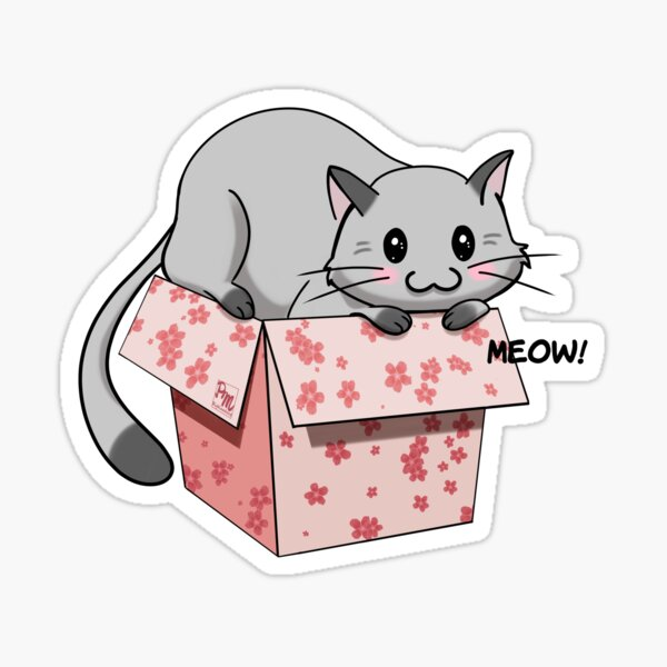 Kitty in a box Sticker