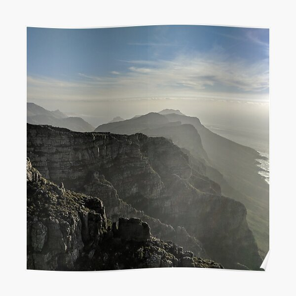 PHOTO COMPOSITION ATMOSPHERIC TABLE MOUNTAIN SOUTH AFRICA FRAMED PRINT B12X8568