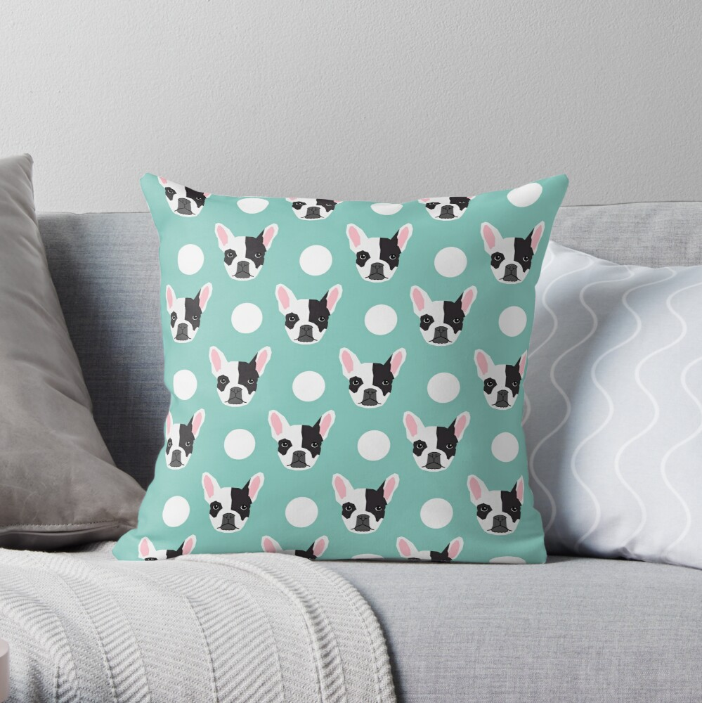 French Bulldog pattern polka dogs dog head funny dog meme cute gift for a dog lover frenchie owner Throw Pillow