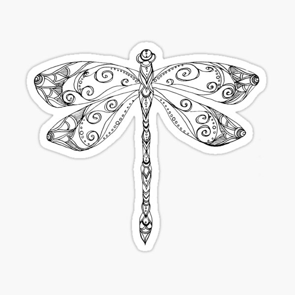 patterned dragonfly ink drawing Sticker
