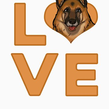 I Love My German Shepherd Love Heart Dog Lovers Gift by Tigarlily