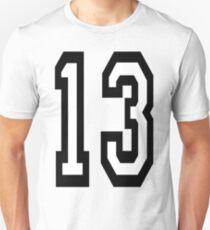 Camiseta ajustada 13, DEPORTE DE EQUIPO, NÚMERO 13, TRECE, DECIMOTERCER, UNO, TRES, Competencia, Mala suerte, Suerte