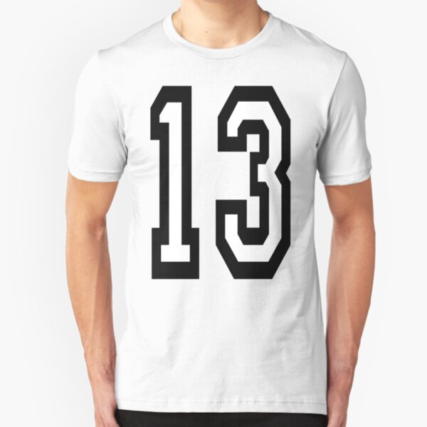13, 13th, TEAM SPORTS, NUMBER 13, THIRTEEN, THIRTEENTH, ONE, THREE, Competition, Unlucky, Luck. Slim Fit T-Shirt