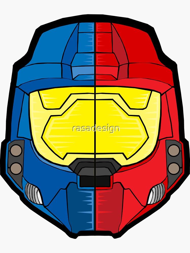 Red vs Blue Helmet by rasadesign