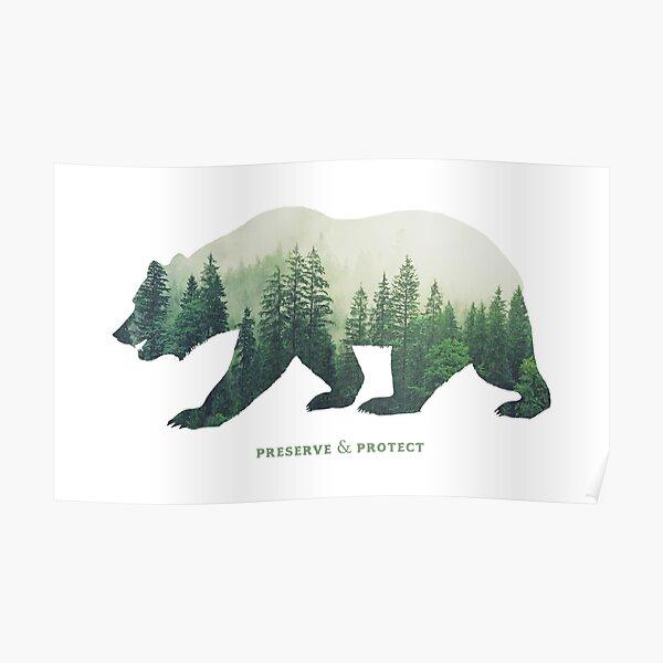 Natur schützen und schützen Doppelte Belichtung Bär Silhouette Bäume Wald Umwelt schützen Klimawandel Wildnis Wandern Camping Poster