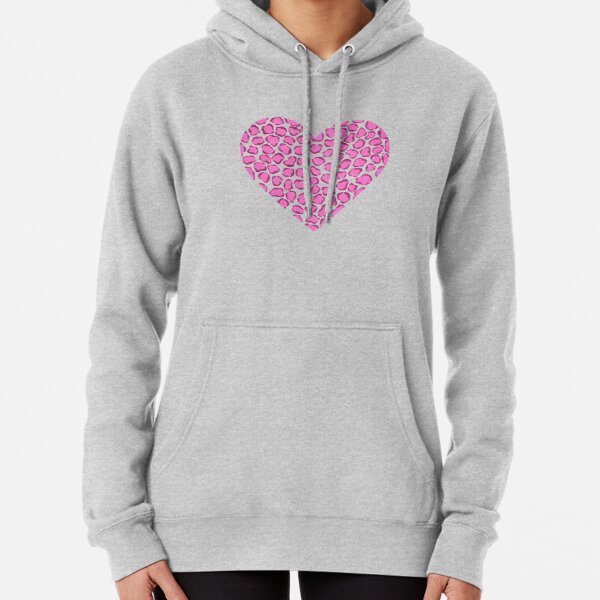 Pink and Purple Leopard Print Heart Pullover Hoodie