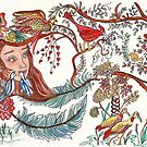 Young Girl with Birds and Feathers Watercolor by Naquaiya